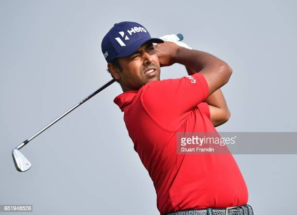 Anirban Lahiri of India plays a shot during the continuation of the delayed second round of the Hero Indian Open at Dlf Golf and Country Club on...