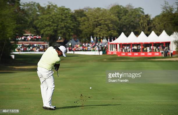 Anirban Lahiri of India plays a shot during the final round of the Hero India Open Golf at Delhi Golf Club on February 22 2015 in New Delhi India