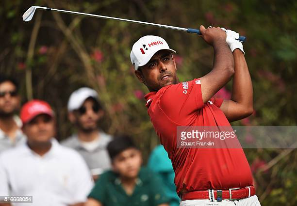 Anirban Lahiri of India plays a shot during the fourth round of the Hero Indian Open at Delhi Golf Club on March 20 2016 in New Delhi India