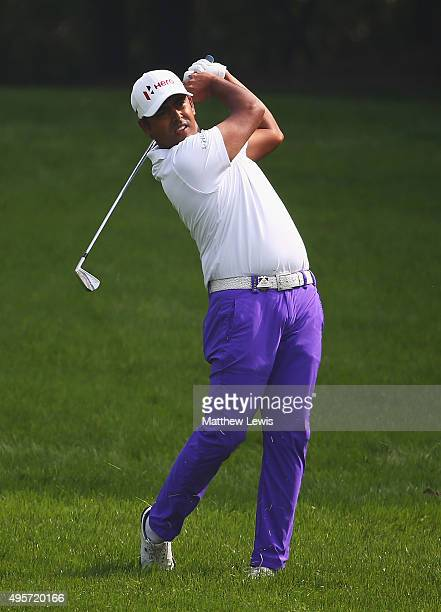 Anirban Lahiri of India plays a shot from the 15th fairway during day one of the WGC HSBC Champions at the Sheshan International Golf Club on...