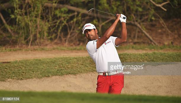 Anirban Lahiri of India plays a shot in the pro am prior to the start of the Hero Indian Open golf at Delhi Golf Club on March 16 2016 in New Delhi...