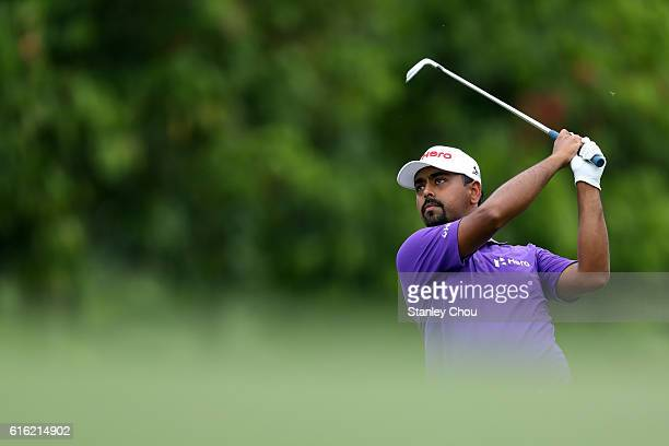 Anirban Lahiri of India plays a shot on the12th hole during day three of the 2016 CIMB Classic at TPC Kuala Lumpur on October 22 2016 in Kuala Lumpur...