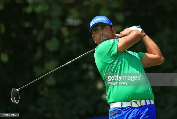 Anirban Lahiri of India plays his shot from the 16th tee during round one of the RBC Canadian Open at Glen Abbey Golf Club on July 27 2017 in...