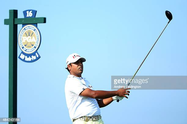 Anirban Lahiri of India plays his shot from the 16th tee during the final round of the 2015 PGA Championship at Whistling Straits on August 16 2015...
