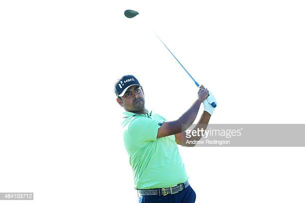 Anirban Lahiri of India plays his shot from the ninth tee during the continuation of the weatherdelayed second round of the 2015 PGA Championship at...