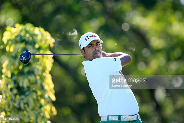 Anirban Lahiri of India plays his tee shot at the par 4 14th hole during the second round of the 2016 Honda Classic held on the PGA National Course...