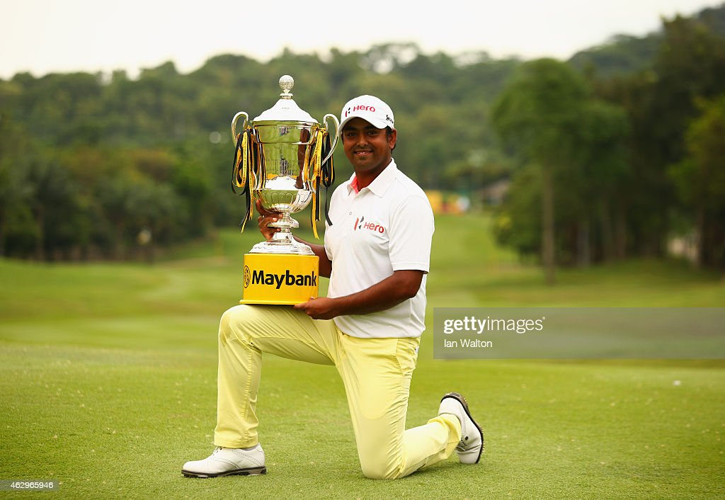 Anirban Lahiri of India poses with the trophy after victory during the final round of the Maybank Malaysian Open at Kuala Lumpur Golf & Country Club on February 8, 2015 in Kuala Lumpur, Malaysia.
