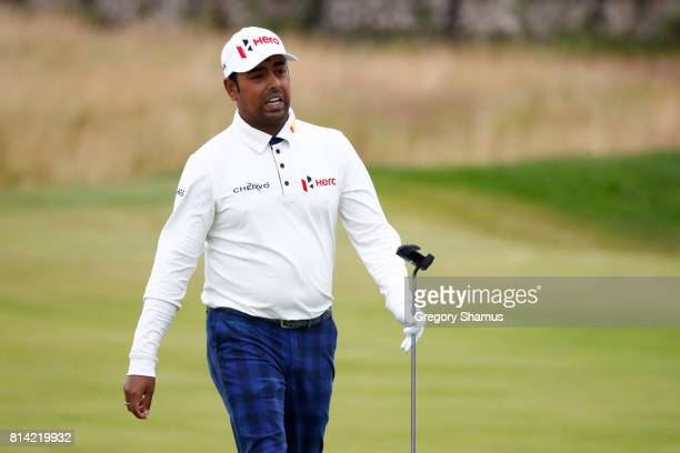 Anirban Lahiri of India reacts on the 13th hole during day two of the AAM Scottish Open at Dundonald Links Golf Course on July 14 2017 in Troon...