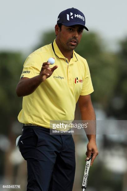 Anirban Lahiri of India reacts on the third green during the third round of The Honda Classic at PGA National Resort and Spa on February 25 2017 in...