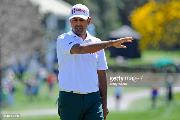 Anirban Lahiri of India reacts to his birdie putt at No 17 during the second round of the Arnold Palmer Invitational presented by MasterCard at Bay...