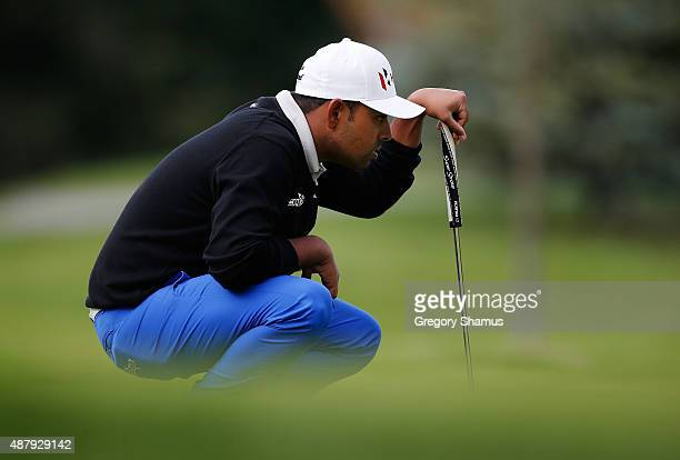 Anirban Lahiri of India reads a putt on the 16th green during the third round of the Webcom Tour Hotel Fitness Championship at Sycamore Hills Golf...