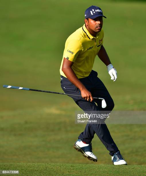 Anirban Lahiri of India runs after a shot during Day Two of the Maybank Championship Malaysia at Saujana Golf Club on February 10 2017 in Kuala...