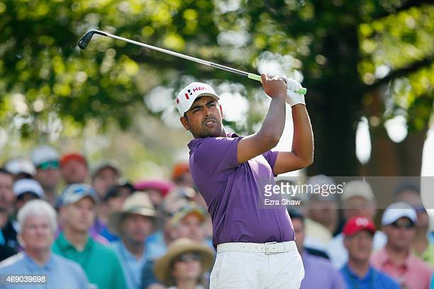 Anirban Lahiri of India watches a tee shot on the fourth hole during the first round of the 2015 Masters Tournament at Augusta National Golf Club on...