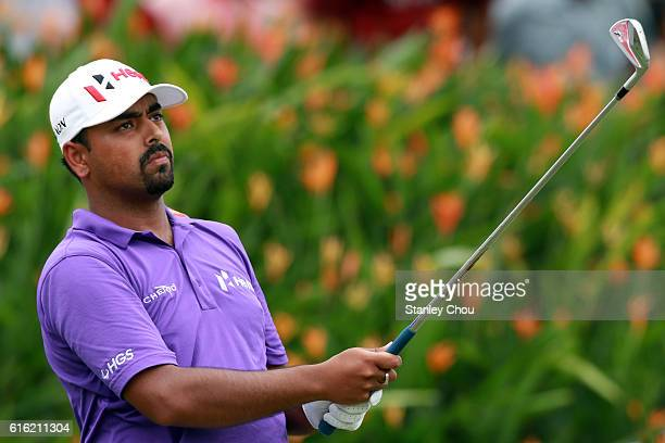 Anirban Lahiri of India watches his shot on the 15th hole during day three of the 2016 CIMB Classic at Kuala Lumpur Golf Country Club on October 22...
