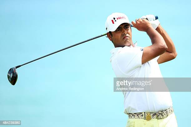 Anirban Lahiri of India watches his tee shot on the fifth hole during the final round of the 2015 PGA Championship at Whistling Straits on August 16...
