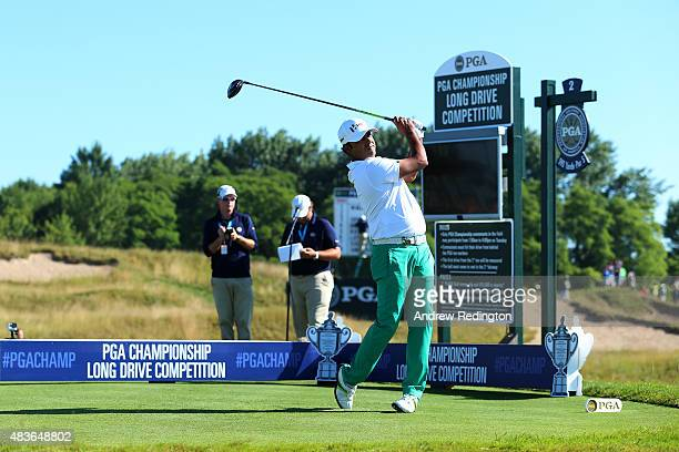 Anirban Lahiri of India watches his tee shot on the second hole during a practice round prior to the 2015 PGA Championship at Whistling Straits on...