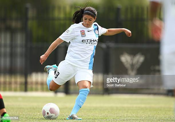 Anisa Guajardo of City FC controls the ball during the round 12 WLeague match between Melbourne City FC and the Western Sydney Wanderers at CBSmith...