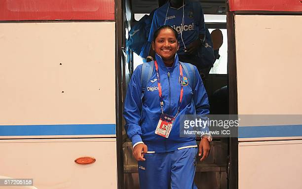 Anisa Mohammed of the West Indies arrives ahead of the Women's ICC World Twenty20 India 2016 match between England and the West Indies at the HPCA...