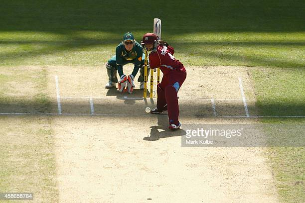 Anisa Mohammed of the West Indies bats during game four of the women's International Twenty20 series between Australia and the West Indies at ANZ...