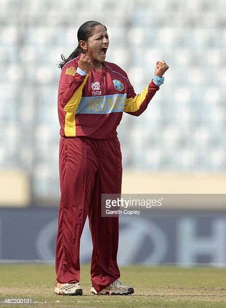 Anisa Mohammed of the West Indies celebrates dismissing Elyse Villani of Australia during the ICC Womens World Twenty20 Bangladesh 2014 semi final...