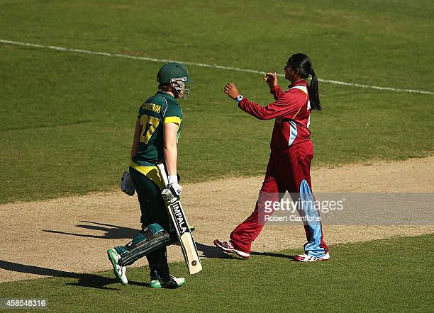 Anisa Mohammed of the West Indies celebrates taking the wicket of Jess Cameron of Australia during game three of the International Women's Twenty20...