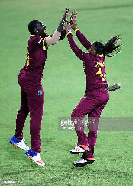 Anisa Mohammed of the West Indies celebrates the wicket of Bismah Maroof of Pakistan with Shamilia Connell during the Women's ICC World Twenty20...
