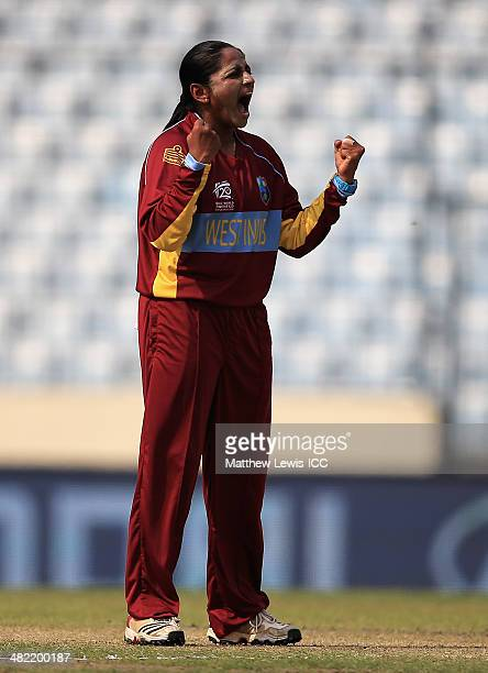Anisa Mohammed of the West Indies celebrates the wicket of Elyse Villani of Australia after she was caught by Kycia Knight during the ICC World...