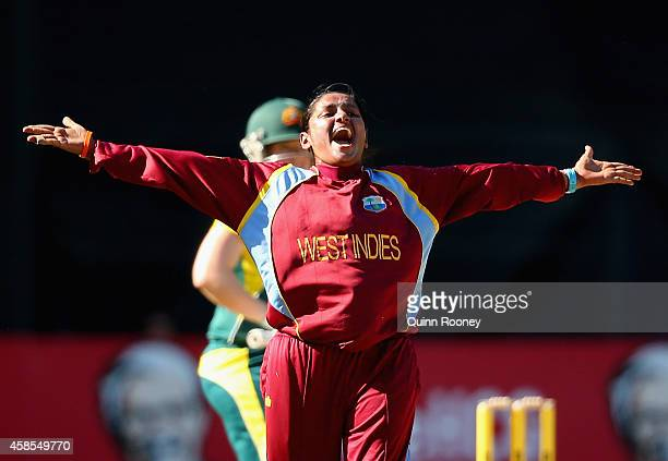 Anisa Mohammed of the West Indies celebrates the wicket of Jess Cameron of Australia during game three of the International Women's Twenty20 match...