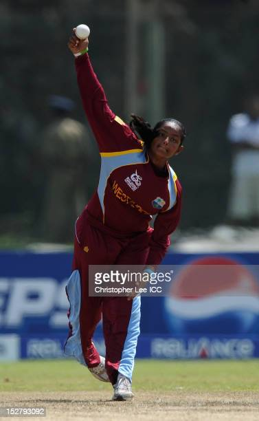 Anisa Mohammed of West Indies bowling during the ICC Women's World Twenty20 Group B match bewteen New Zealand and West Indies at Galle International...