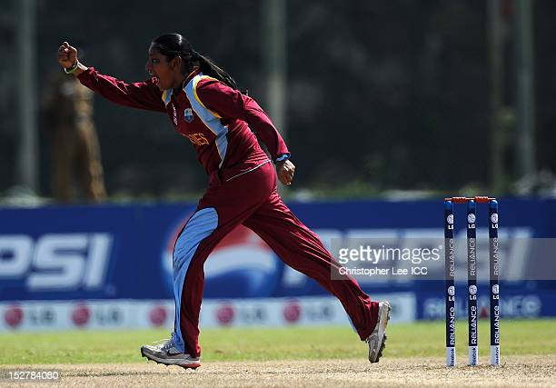 Anisa Mohammed of West Indies celebrates taking the wicket of Nicola Browne of New Zealand during the ICC Women's World Twenty20 Group B match...