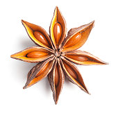 Close up of anise star on white background. This file is cleaned, retouched and contains clipping path.