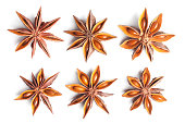 Collection of anise stars on white background. This file is cleaned, retouched and contains