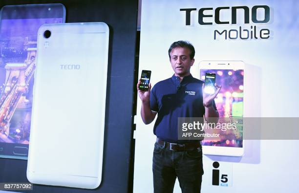 Anish Kapoor CEO of Techno and Inflix India presents the newly designed Indis smart phones during a promotional event in Kolkata on August 23 2017...