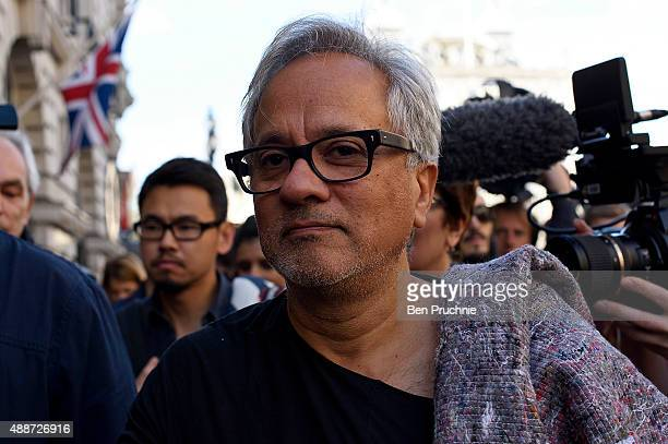 Anish Kapoor walks through the city as part of a march in solidarity with migrants currently crossing Europe on September 17 2015 in London England...