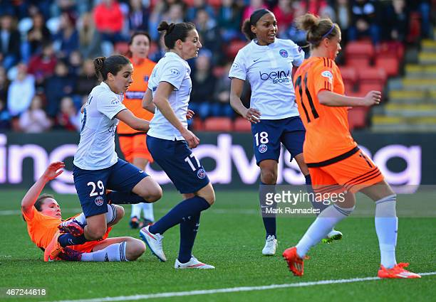 Anissa Lahmari of Paris SaintGermain scores the opening goal of the game during the UEFA Woman's Champions League Quarter Final match between Glasgow...