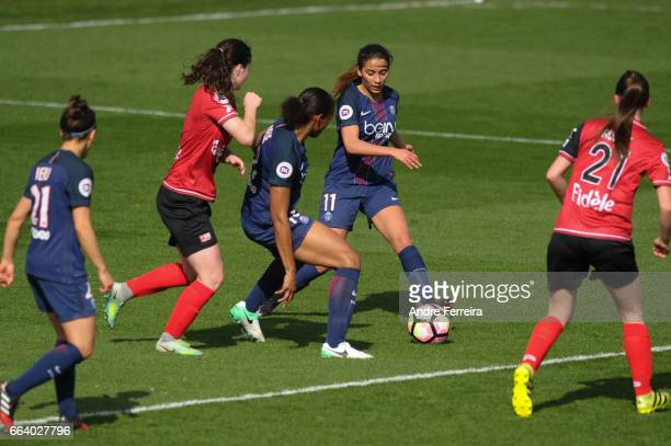 Anissa Lahmari of PSG during the Women's French Division 1 match between Paris Saint Germain and Guingamp at Camp des Loges on April 2 2017 in Paris...