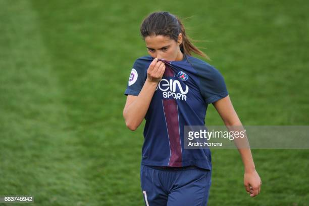Anissa Lahmari of PSG looks dejected during the Women's French Division 1 match between Paris Saint Germain and Guingamp at Camp des Loges on April 2...