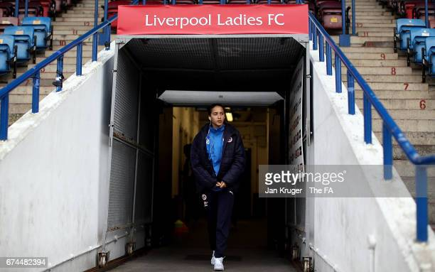 Anissa Lahmari of Reading FC Women arrives ahead of the WSL 1 match between Liverpool Ladies and Reading FC Women at Select Security Stadium on April...