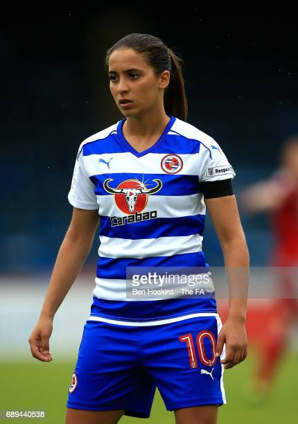 Anissa Lahmari of Reading in action during the WSL 1 match between Reading FC Women and Birmingham City Ladies at Adams Park on May 28 2017 in High...