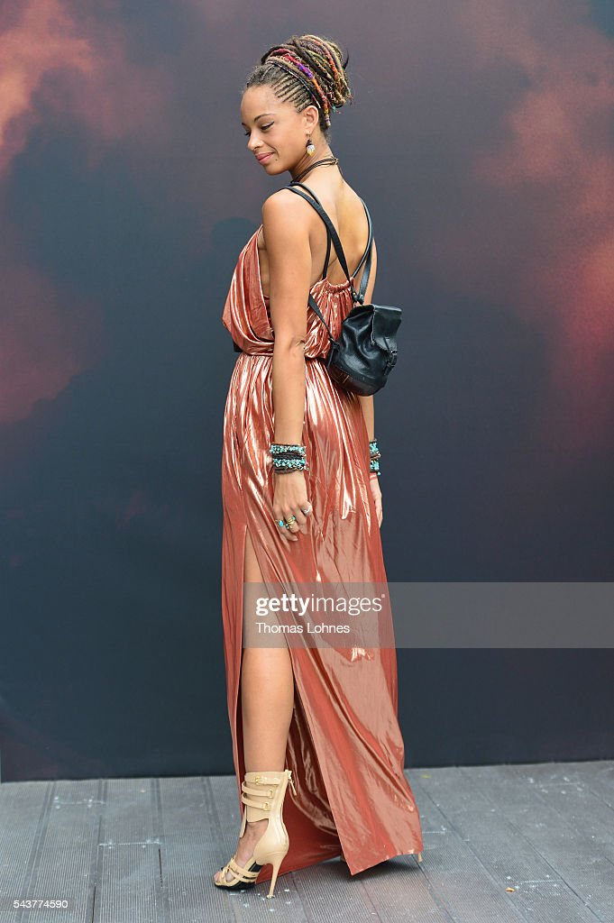 Anissa Von Busse is wearing a dress by Balenciaga and shoes by Tom Ford during the Mercedes-Benz Fashion Week Berlin Spring/Summer 2017 at Erika Hess Eisstadion on June 29, 2016 in Berlin, Germany.