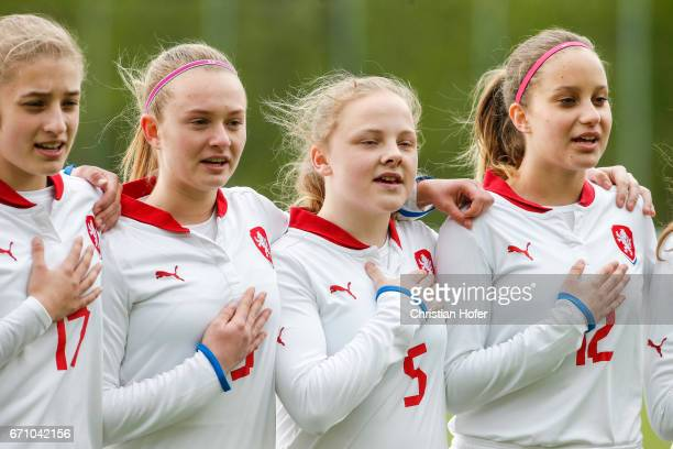 Anita Ajazi Aneta Buryanova Katerina Marcinkova and Aneta Sovakova of Czech Republic line up during the national anthem prior to the Under 15 girls...