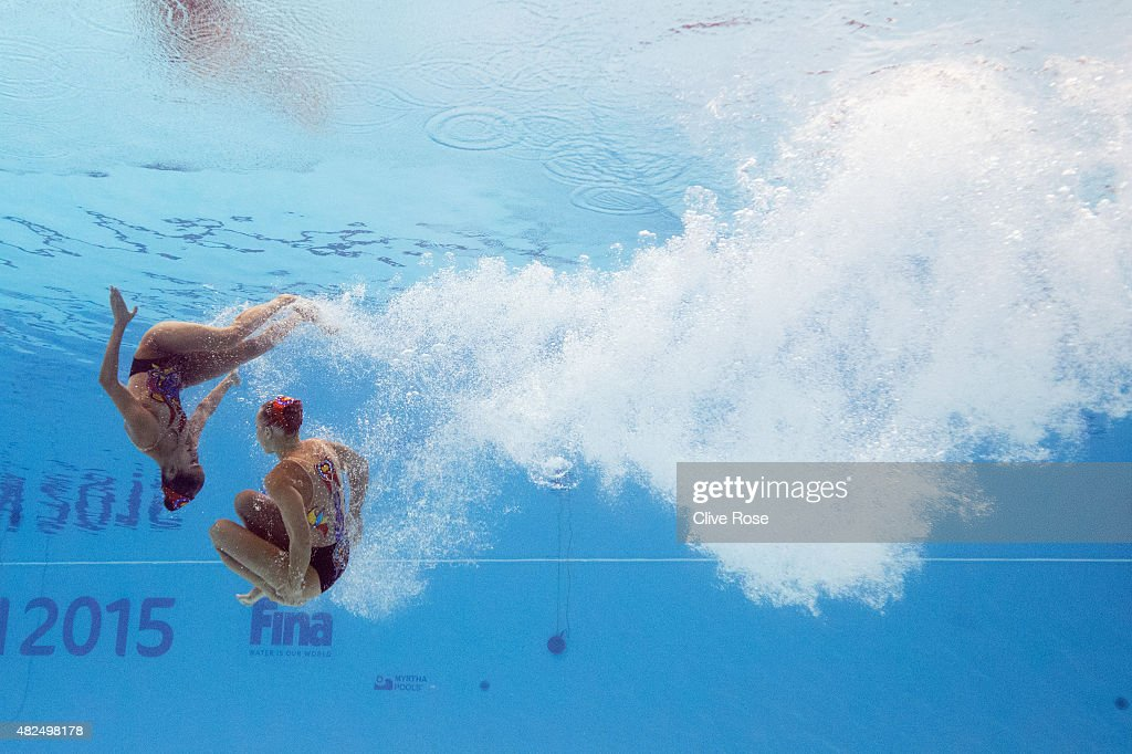 Anita Alvarez and Mariya Koroleva of the United States compete in the Women's Duet Free Synchronised Swimming Final on day six of the 16th FINA World Championships at the Kazan Arena on July 30, 2015 in Kazan, Russia