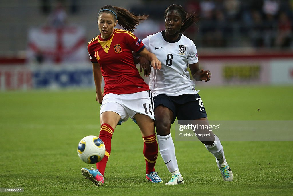 Anita Asante of England (R) challenges Vicky Losada of Spain (L) during the UEFA Women's EURO 2013 Group C match between England and Spain at Linkoping Arena on July 12, 2013 in Linkoping, Sweden.