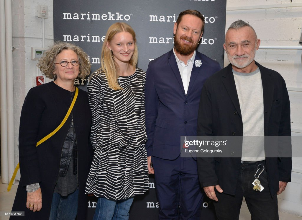 Anita Cooney, Mika Pirainen, Aino Maija Metsok and Kevin Walz attend the Gotham Magazine Celebrates An Evening Of The Art Of Printmaking At Marimmeko on November 8, 2013 in New York City.