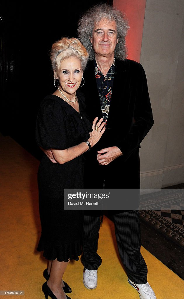 Anita Dobson (L) and Brian May attend the Queen AIDS Benefit in support of The Mercury Phoenix Trust at One Mayfair on September 5, 2013 in London, England.