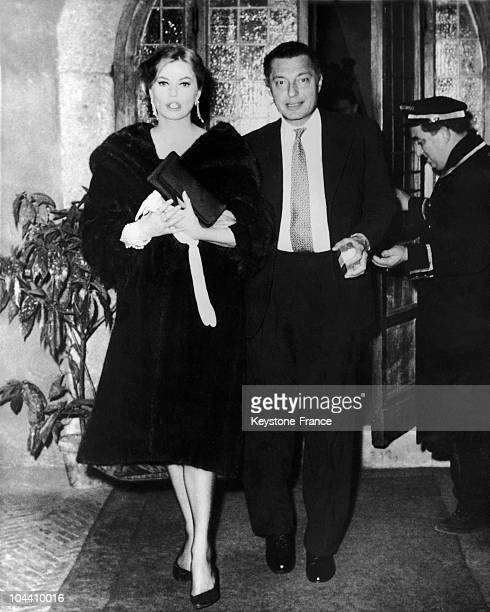 Anita EKBERG and Mr AGNELLI of the FIAT company seen as they left the Rome restaurant Hostaria dell' Orso after a night out on February the 2nd 1959