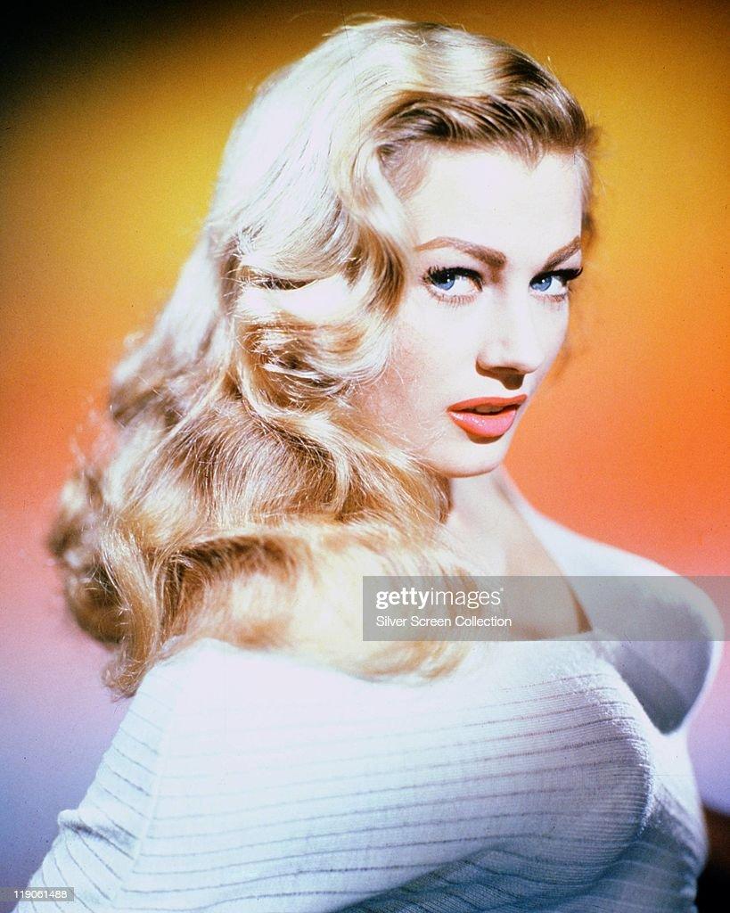 Anita Ekberg , Swedish model and actress, posing in a studio portrait ...