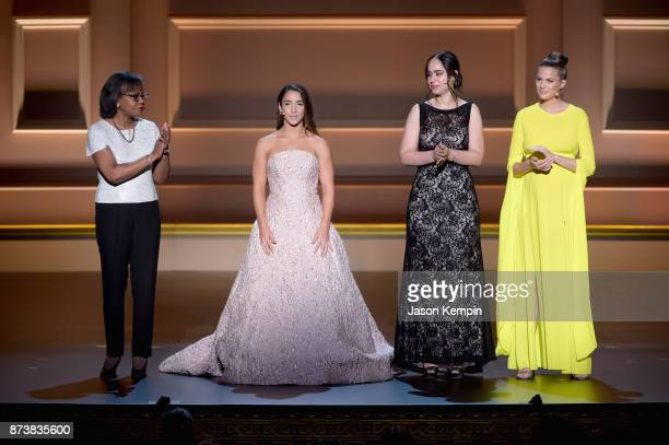 Anita Hill Aly Raisman Anna Cardenas and Cameron Russell speak onstage at Glamour's 2017 Women of The Year Awards at Kings Theatre on November 13...