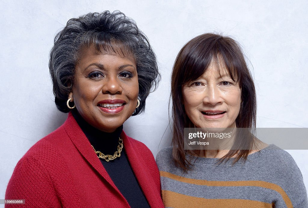 <a gi-track='captionPersonalityLinkClicked' href=/galleries/search?phrase=Anita+Hill&family=editorial&specificpeople=655733 ng-click='$event.stopPropagation()'>Anita Hill</a> (L) and director Freida Mock pose for a portrait during the 2013 Sundance Film Festival at the WireImage Portrait Studio at Village At The Lift on January 18, 2013 in Park City, Utah.