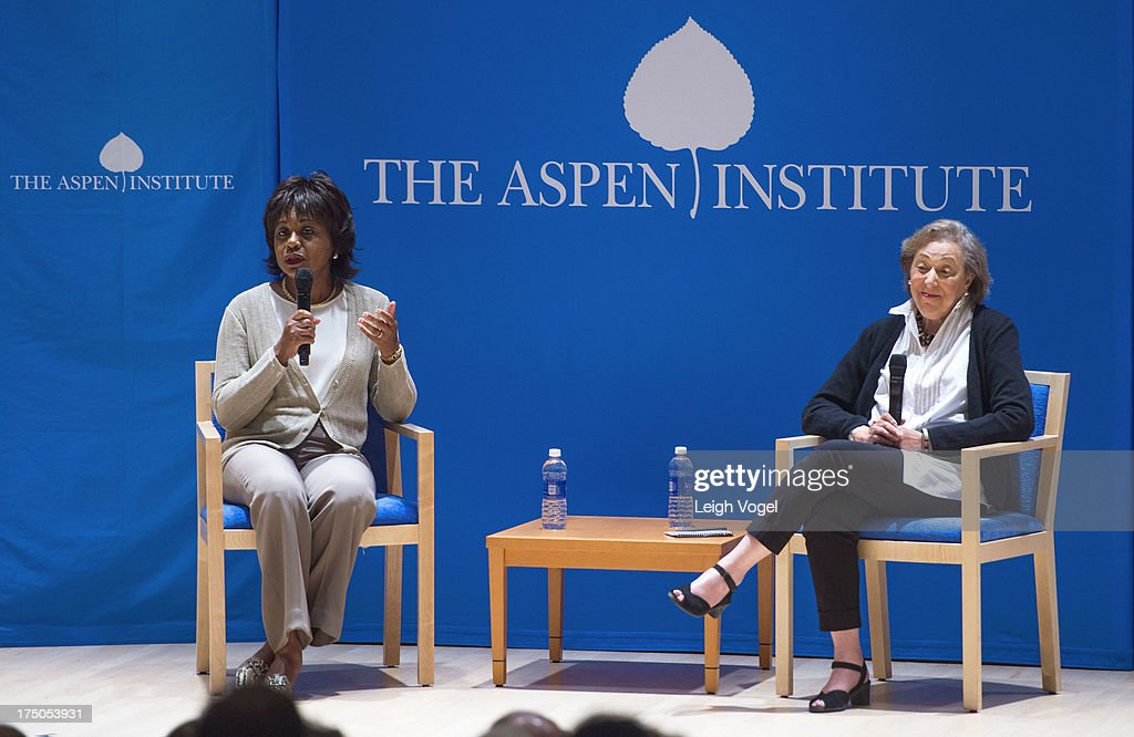 <a gi-track='captionPersonalityLinkClicked' href=/galleries/search?phrase=Anita+Hill&family=editorial&specificpeople=655733 ng-click='$event.stopPropagation()'>Anita Hill</a> and Marcia Greenberger speak during Anita, NEW VIEWS Documentaries & Dialogue, co-presented by the Aspen Institute Arts Program and Aspen Film at the Paepke Auditorium at the Aspen Institute on July 29, 2013 in Aspen, Colorado.